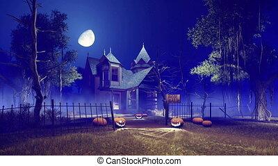 Halloween haunted house at misty night 4K