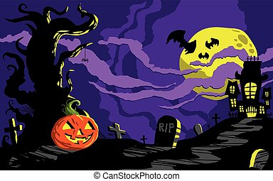 Halloween Haunted House Background Template
