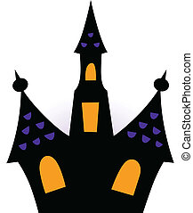 Halloween haunted house silhouette isolated on white
