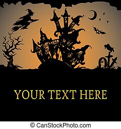 Halloween haunted house, vector background
