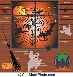 Halloween haunted house vector illustration