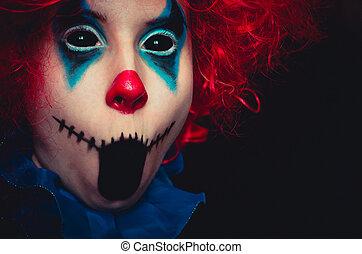 halloween, haut, terrifiant, noir, clown, fond, portrait, fin