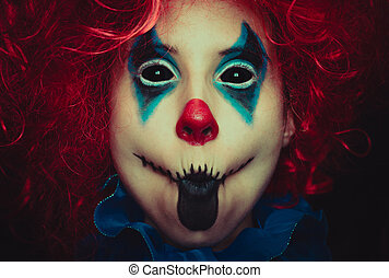 halloween, haut, terrifiant, noir, clown, fond, portrait, fin