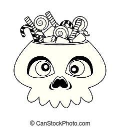 halloween head skull with candies