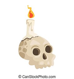 halloween head skull with candle
