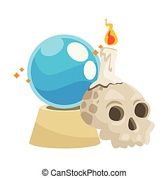 halloween head skull with crystal ball and candle