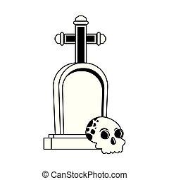 halloween head skull with graveyard
