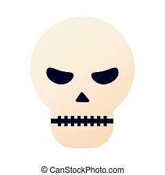halloween head skull with witch hat flat style