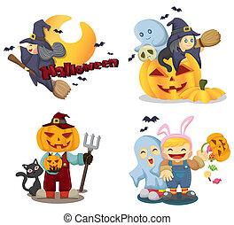 halloween, heiligenbilder, satz