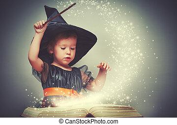 halloween., heiter, wenig, hexe, mit, a, magischer zauberstab, und, glühen, buch