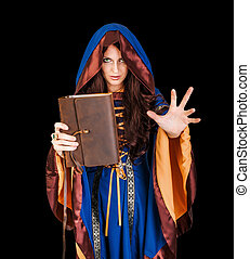 halloween heks, vasthouden, magisch, boek, van, periodes,...