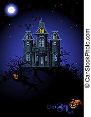 halloween, hemsökt hus