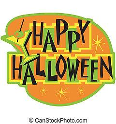 halloween, heureux, art, agrafe, signe