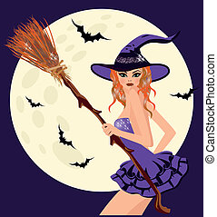 halloween., heureux, sorcière, lune, sexy