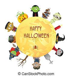 halloween, heureux, souhaiter, terrifiant, caractère