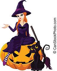 halloween hexe, auf, kã¼rbis