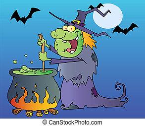 halloween hexe, rühren, a, trank