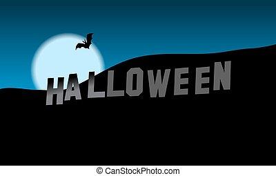 Halloween Hills Illustration Desktop Wallpaper