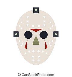 Halloween hockey mask flat icon