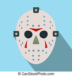 Halloween hockey mask flat icon with long shadow