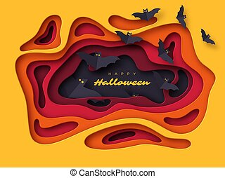 Halloween holiday background. Paper cut style abstract shapes with flying bats. 3d layered effect, vector illustration.
