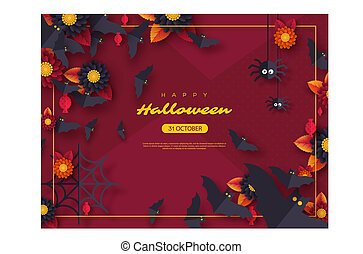 Halloween holiday background. Paper cut style flying bats, candy, flowers and spiders. Purple color background with greeting text, vector illustration.
