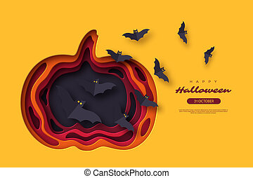 Halloween holiday background. Paper cut style with flying bats. 3d layered effect, vector illustration.
