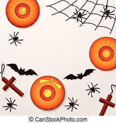 Halloween holiday background with spiders pumpkins and bats. View from above