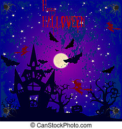 Halloween holiday banner, night illustration and moon, blood text,