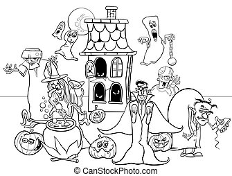 Halloween holiday cartoon characters coloring book - Black ...