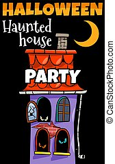 Halloween holiday cartoon design with haunted house