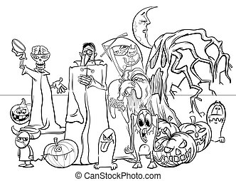 Halloween holiday cartoon funny characters coloring book