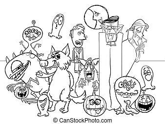 Halloween holiday cartoon monster characters coloring book