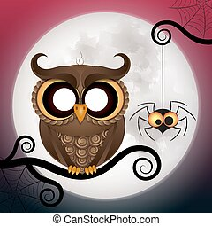 Halloween holiday crazy owl