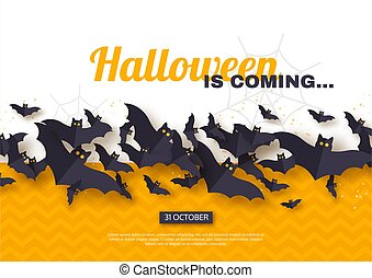 Halloween holiday design. Paper cut style flying bats on yellow and white background, greeting text, vector illustration.