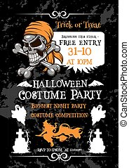 Halloween holiday party poster with pirate skull