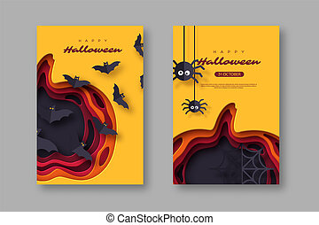 Halloween holiday posters. Paper cut style pumpkin with flying bats and spiders. 3d layered effect, vector illustration.