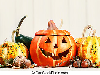 Halloween holiday still life happy scary pumpkin jack-o-lantern