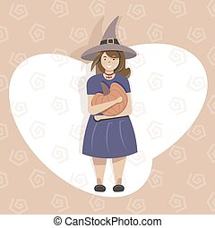Halloween holidays. 31 October. Halloween costume for party. Mysterious woman in black witch Halloween costume covering. Woman in witch hat with pumpkin. Girl witch with pumpkin. Happy Halloween.
