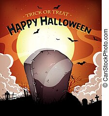 Illustration of a cartoon halloween holidays spooky horror background, with tombstone inside graveyard, fog, full moon and bats