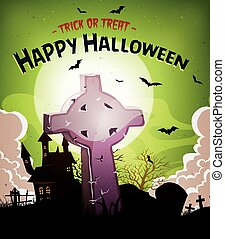 Halloween Holidays Background With Christian Tombstone