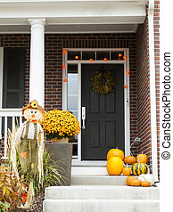 A photo of a house decorated for Halloween.