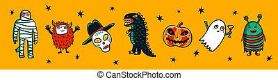 Halloween horizontal banner with funny monsters. Cartoon style vector illustration on yellow background.
