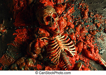 Halloween horror 2 - Section of a wall from a haunted house ...
