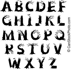 Halloween horror alphabet letters - Spooky Halloween letter...