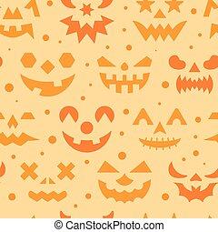 Halloween horror face seamless pattern