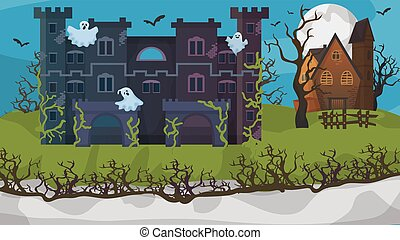 Halloween horror house ghost gloomy cottage flat vector illustration. Nightmare area concept banner, scary mansion. Building overgrown grass.