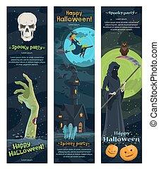 Halloween horror night banner, spooky party design