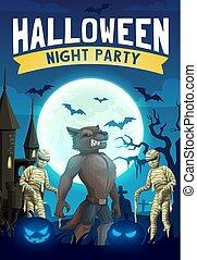 Halloween horror night bats, pumpkins, mummies