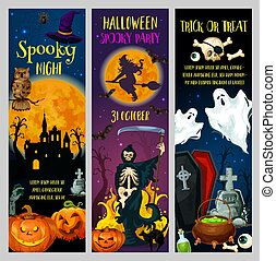 Halloween horror night party banners
